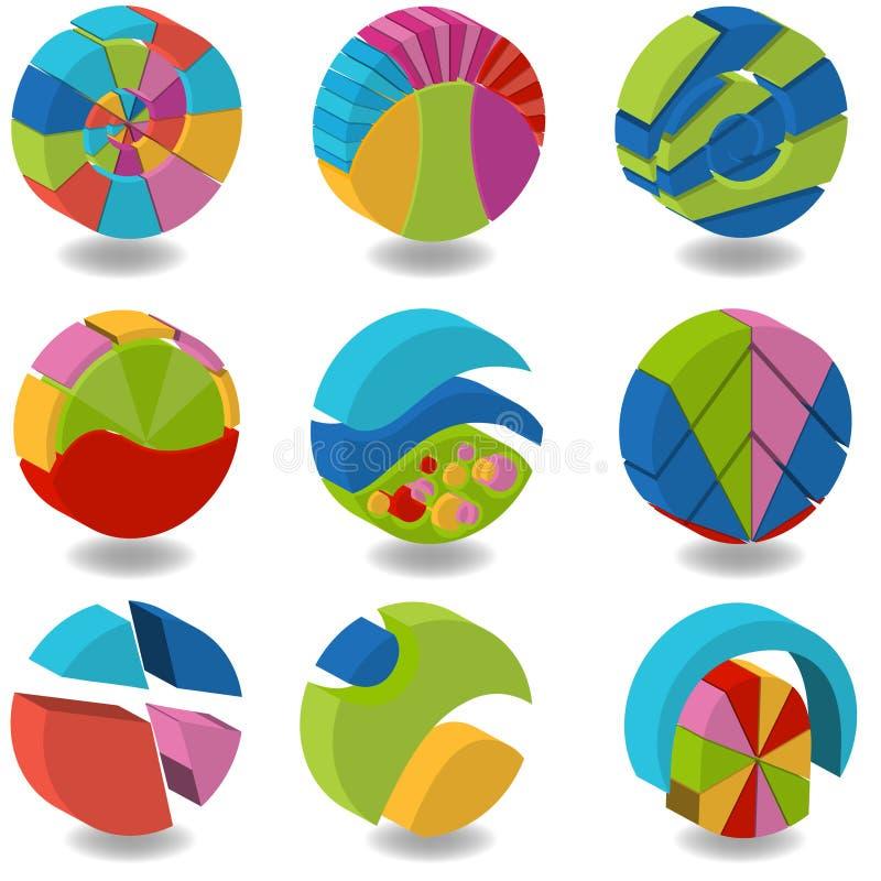gráfico de sectores circulares 3D ilustração stock