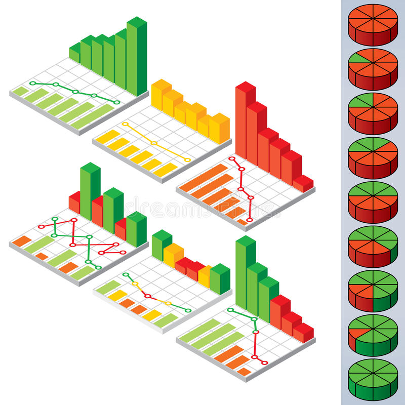 Gráfico de sectores circulares e gráficos Elementos do vetor para o projeto ilustração do vetor