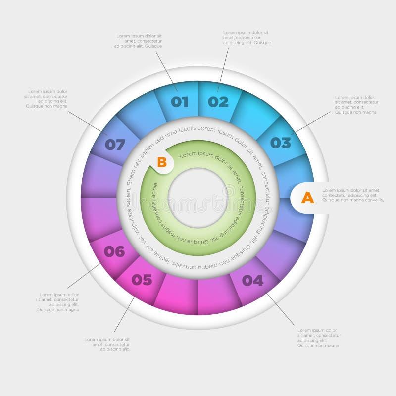 Gráfico de sectores colorido infographic ilustración del vector
