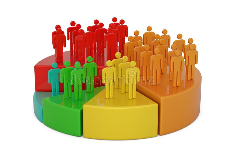 Gr?fico de sectores con los hombres de negocios aislados en el fondo blanco ilustraci?n 3D ilustración del vector