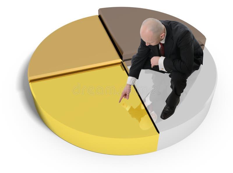 Gráfico de sectores de bronce de plata del oro stock de ilustración