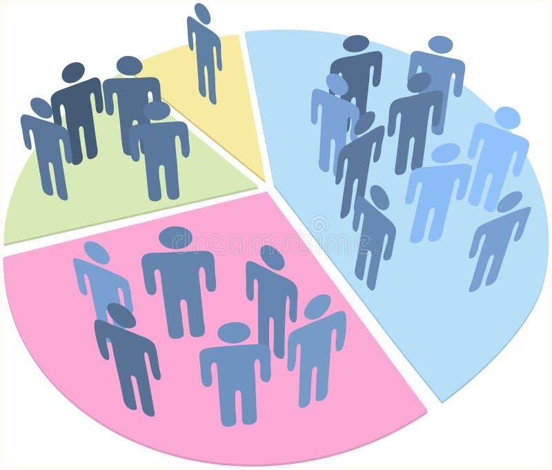 Gráfico de sectores de los datos de la población de las estadísticas de la gente ilustración del vector