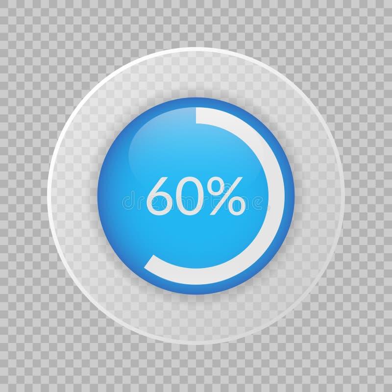 gráfico de sectores del 60 por ciento en fondo transparente Símbolo infographic del vector del porcentaje Icono del asunto stock de ilustración