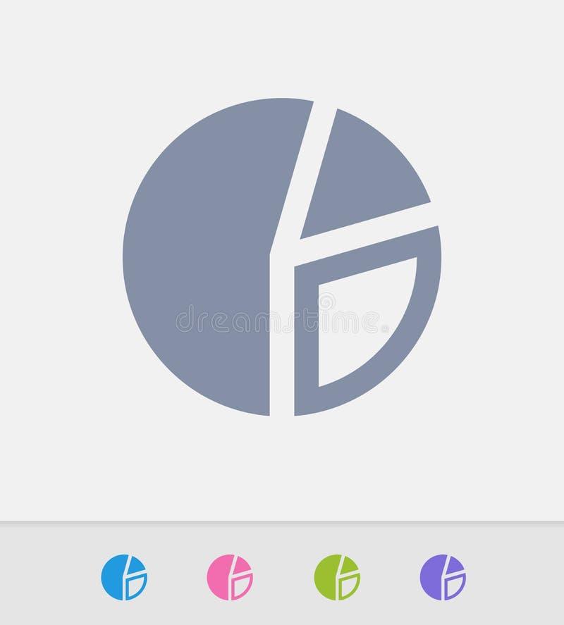 Gráfico de sectores dividido en segmentos - iconos del granito stock de ilustración