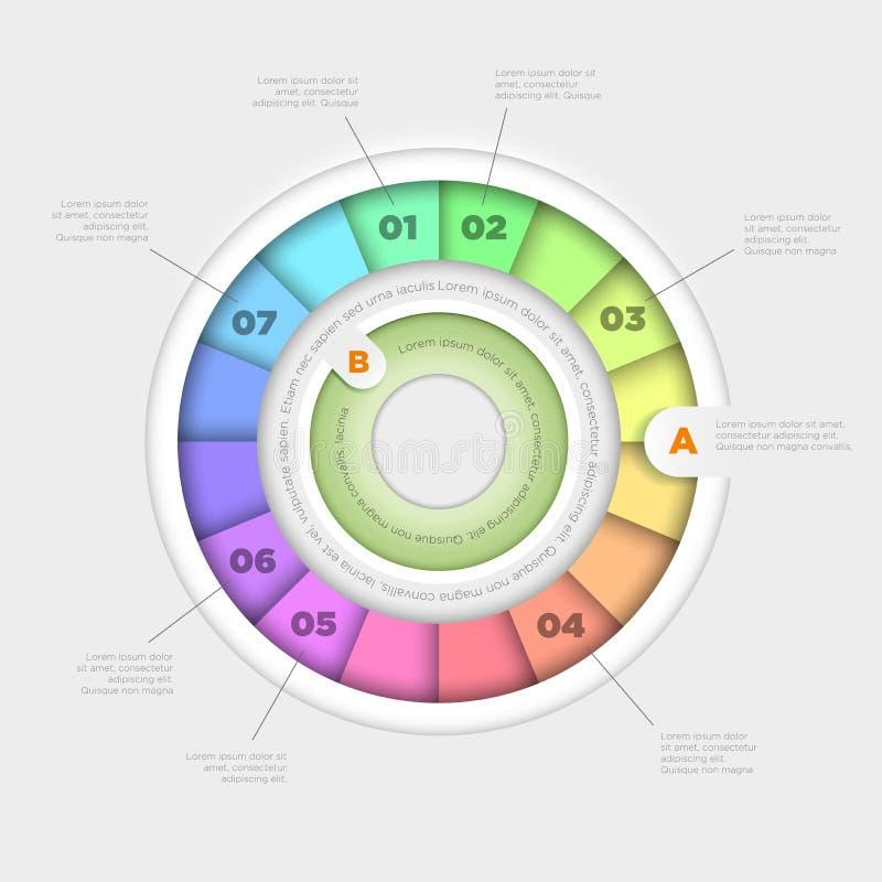 Gráfico de sectores infographic ilustración del vector