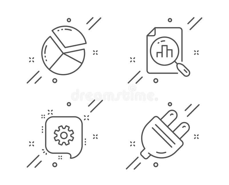 Gráfico de sectores de la rueda dentada, y sistema de los iconos del gráfico del Analytics Muestra del enchufe el?ctrico Vector libre illustration
