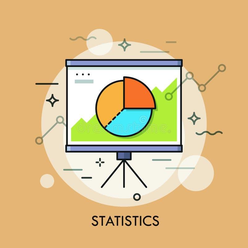 Gráfico de sectores o diagrama circular en whiteboard Estadísticas, informe estadístico, datos, análisis e indicadores económicos stock de ilustración