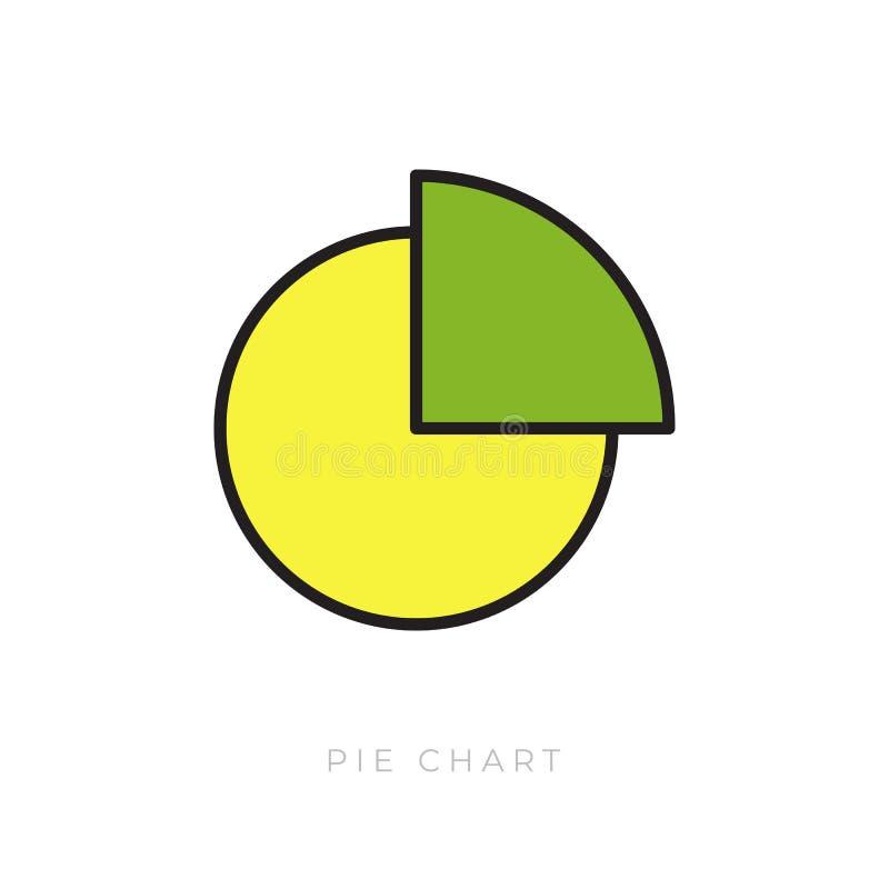 Gráfico de sectores plano del icono stock de ilustración