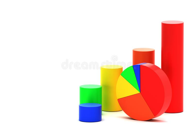 Gráfico de sectores y carta de barra stock de ilustración
