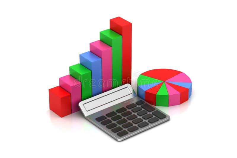 Gráfico de sectores y gráfico de barra ilustración del vector