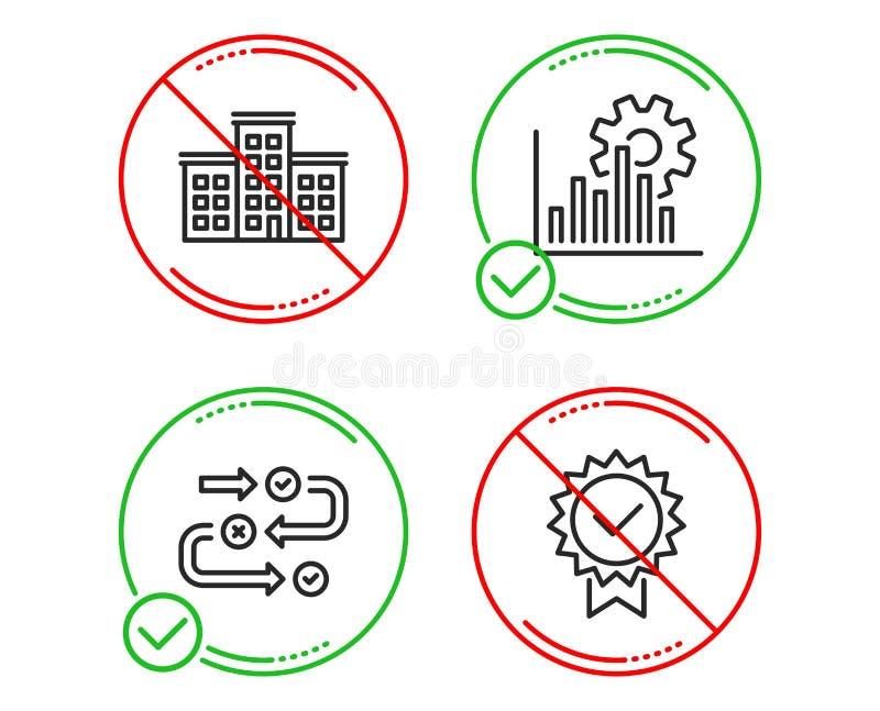 Gráfico de Seo, de progresso da empresa e da avaliação grupo dos ícones sinal do certificado Carta da analítica, construção, algo ilustração stock