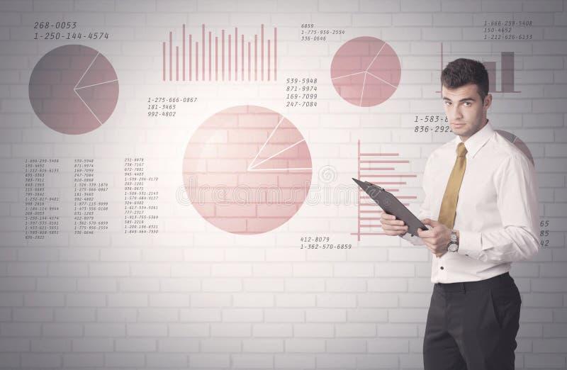 Gráfico de setores circulares e números na parede com vendedor ilustração do vetor