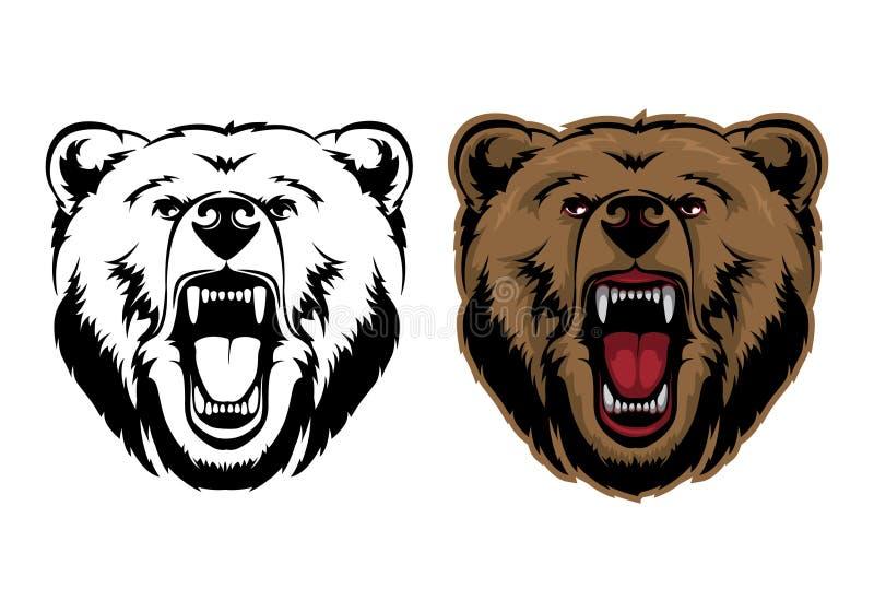 Gráfico de vector de la cabeza de la mascota del oso grizzly ilustración del vector