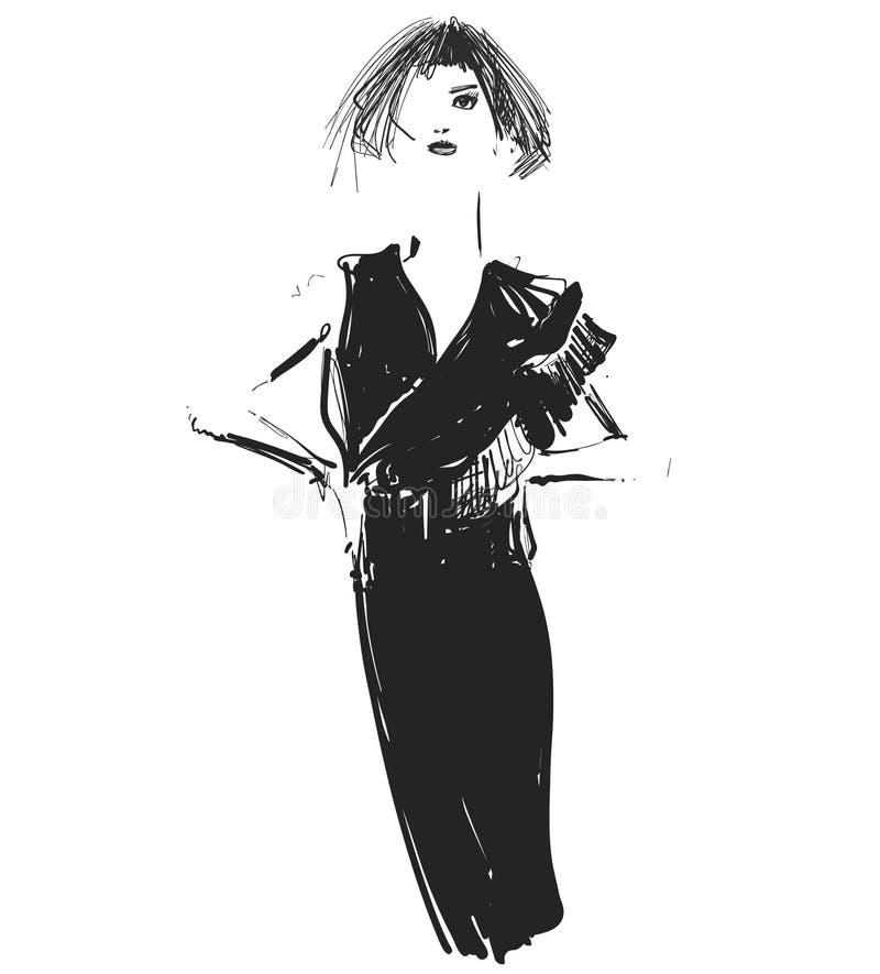 Gráfico de vetor com modelo bonito da moça para o projeto E Gráfico, desenho de esboço sexy ilustração do vetor