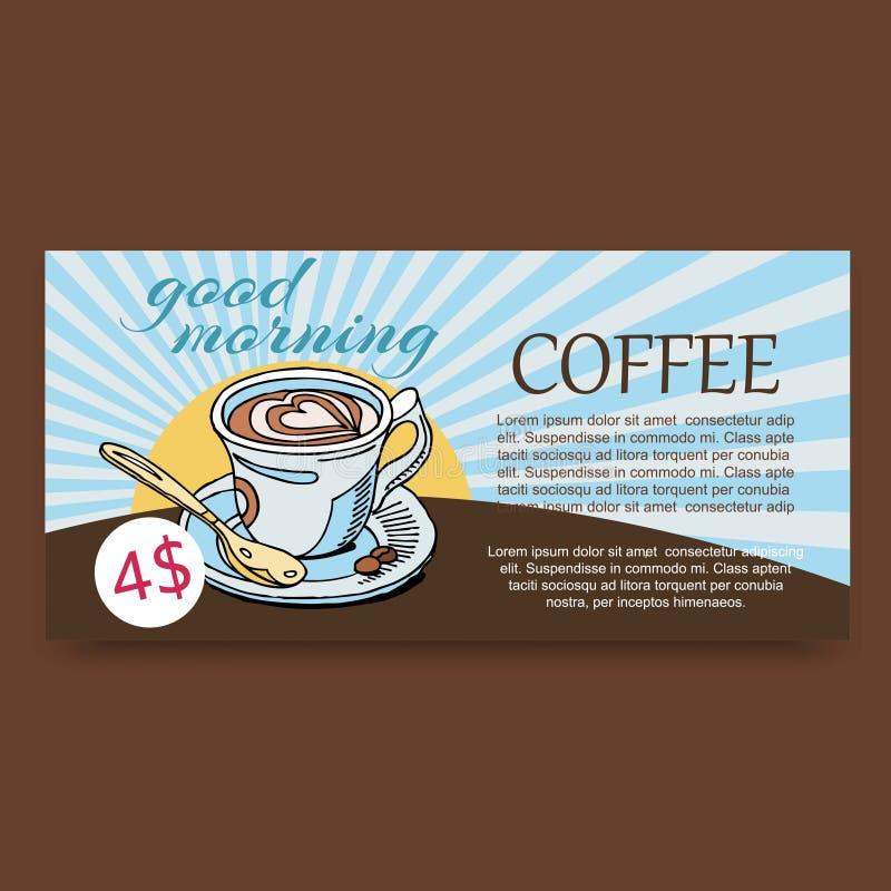 Gráfico de vetor da xícara de café da manhã Cappuccino rico do café do aroma, latte, bebida do café no fundo do vintage ilustração stock