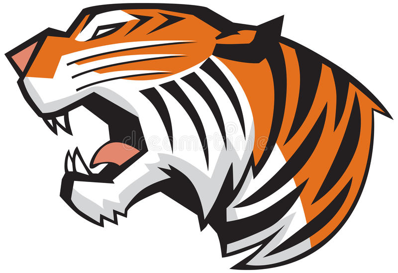 Gráfico de vetor de Tiger Head Roaring Side View ilustração royalty free