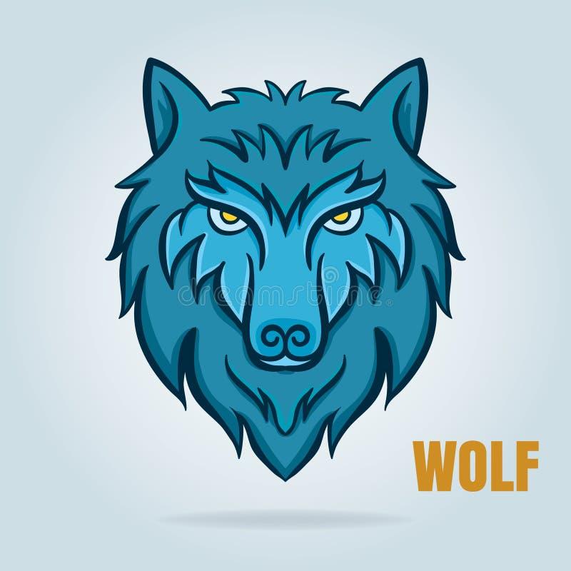 Gráfico de vetor do lobo, projeto para o crachá do logotipo, decalque, etc. ilustração royalty free