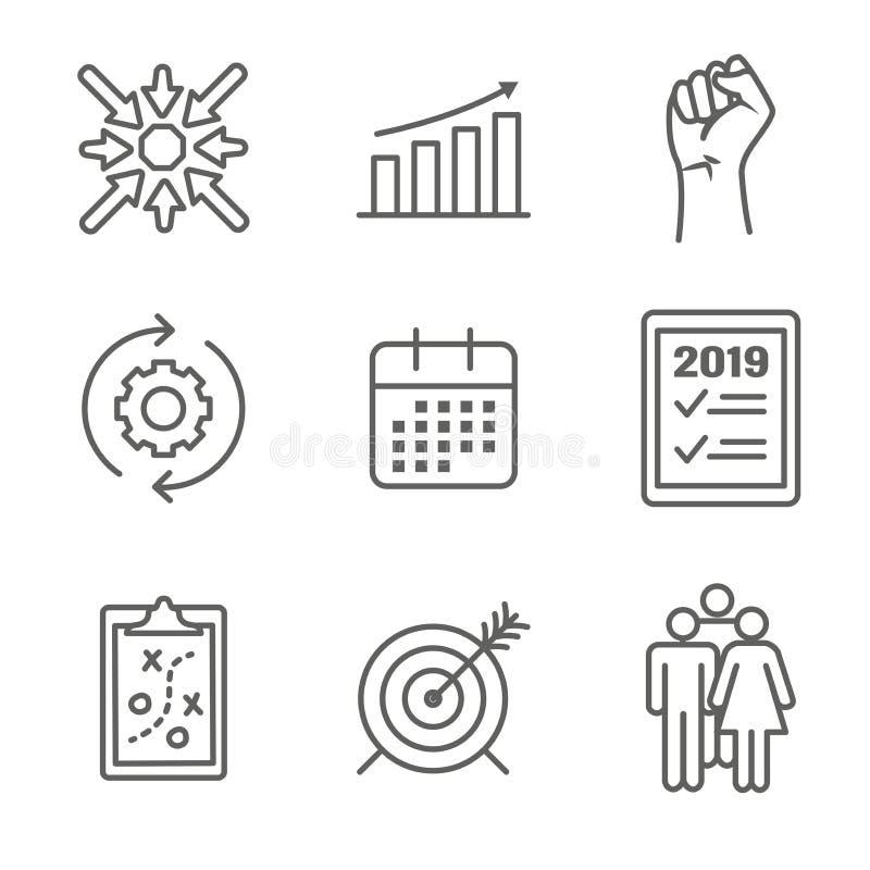 Gráfico de vetor ESPERTO de 2019 objetivos com palavras-chaves espertas do objetivo ilustração do vetor
