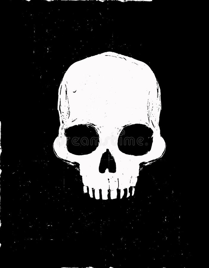 Gráfico de vetor humano branco do crânio Projeto tirado mão ilustração royalty free