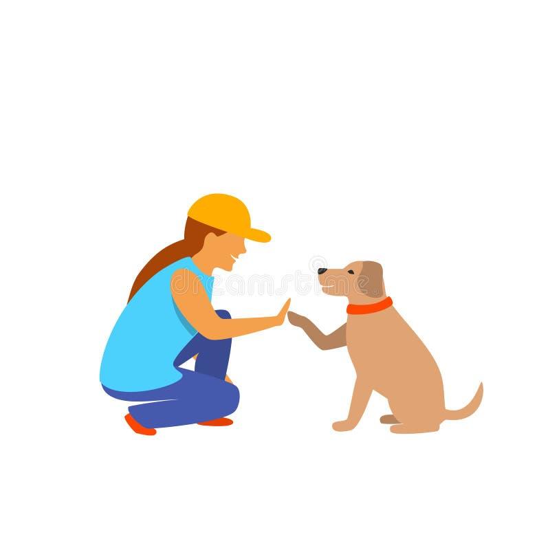 Gráfico de vetor isolado cumprimento da menina e do cão ilustração do vetor
