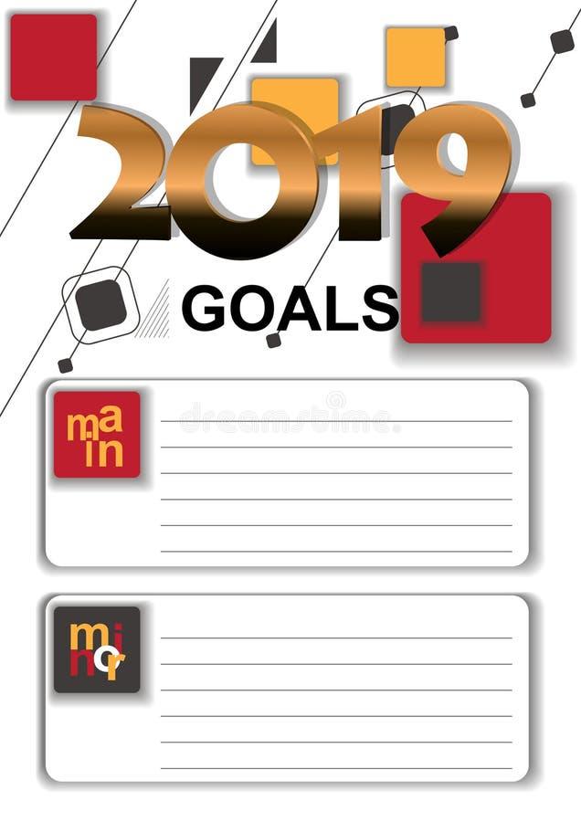 Gráfico de vetor de 2019 objetivos com com uma lista para objetivos de gravação ilustração do vetor