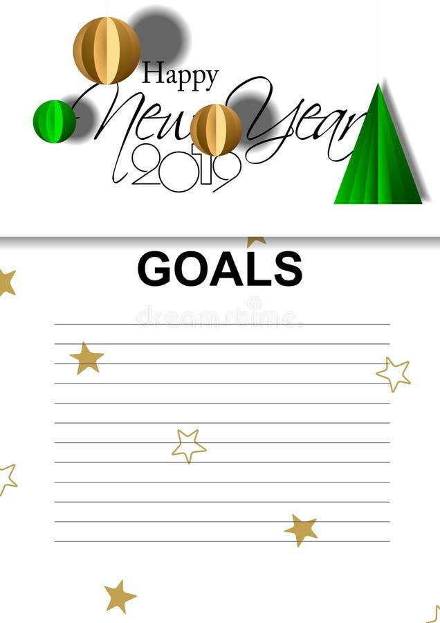Gráfico de vetor de 2019 objetivos com com uma lista para objetivos de gravação ilustração royalty free