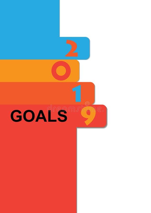 Gráfico de vetor de 2019 objetivos com com uma lista para objetivos de gravação ilustração stock