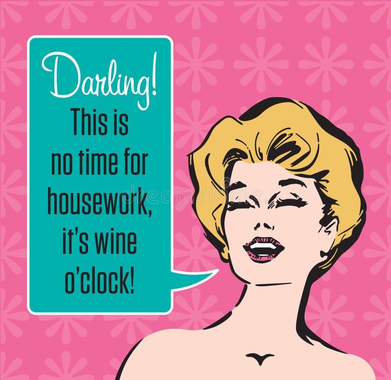 Gráfico de vetor retro de O'Clock do vinho ilustração stock