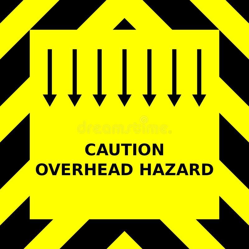 Gráfico de vetor sem emenda de vigas apontando ascendentes pretas em um fundo amarelo com o perigo aéreo de expressão do cuidado ilustração do vetor