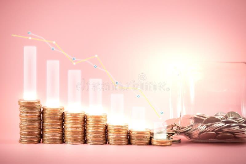 Gráfico del ahorro del fondo común o del dinero en monedas Fondo para las ideas y el diseño del negocio Carta para el concepto de fotografía de archivo