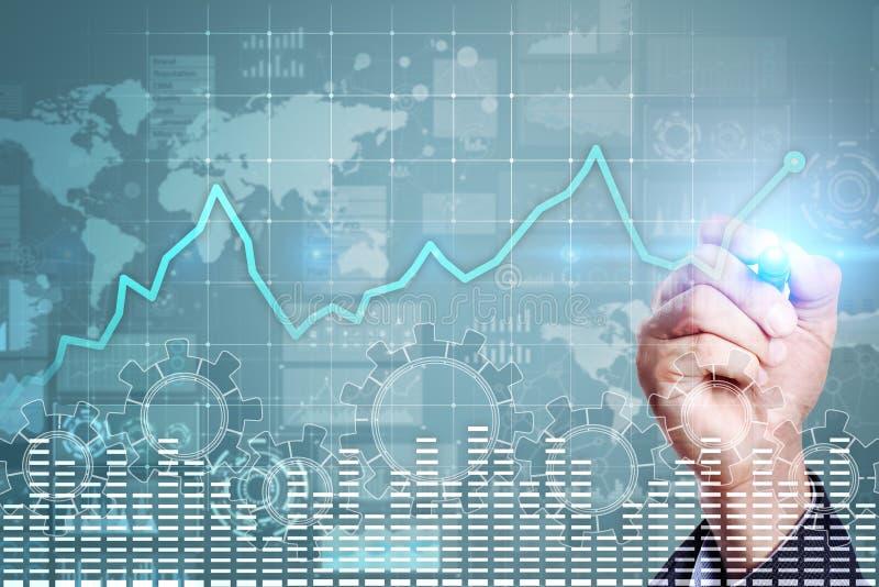 Gráfico del análisis de datos en la pantalla virtual Finanzas del negocio y concepto de la tecnología imagen de archivo
