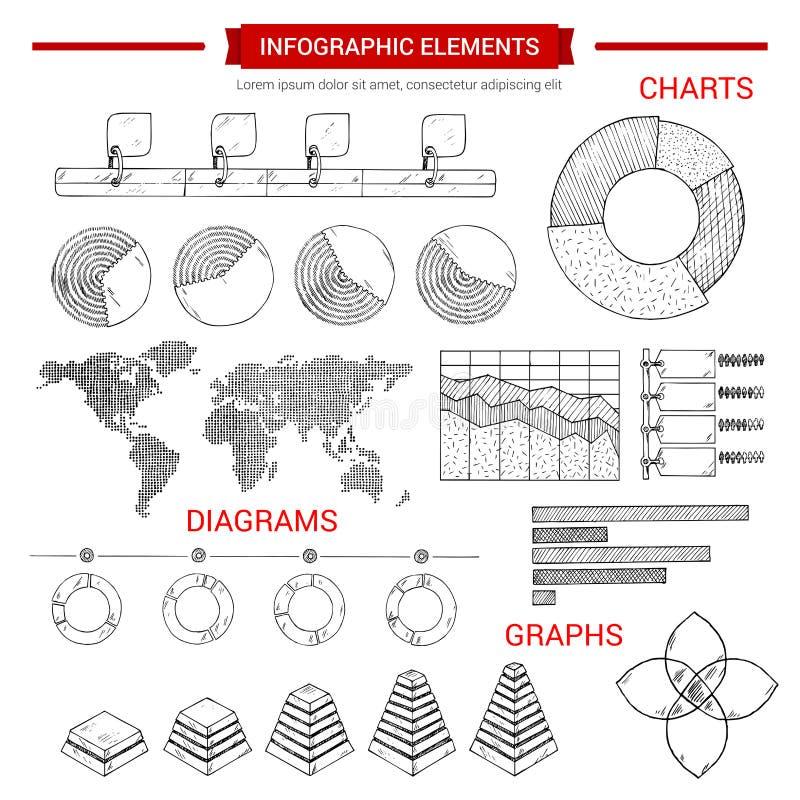 Gráfico del bosquejo de Infographic, elementos del vector de la carta ilustración del vector