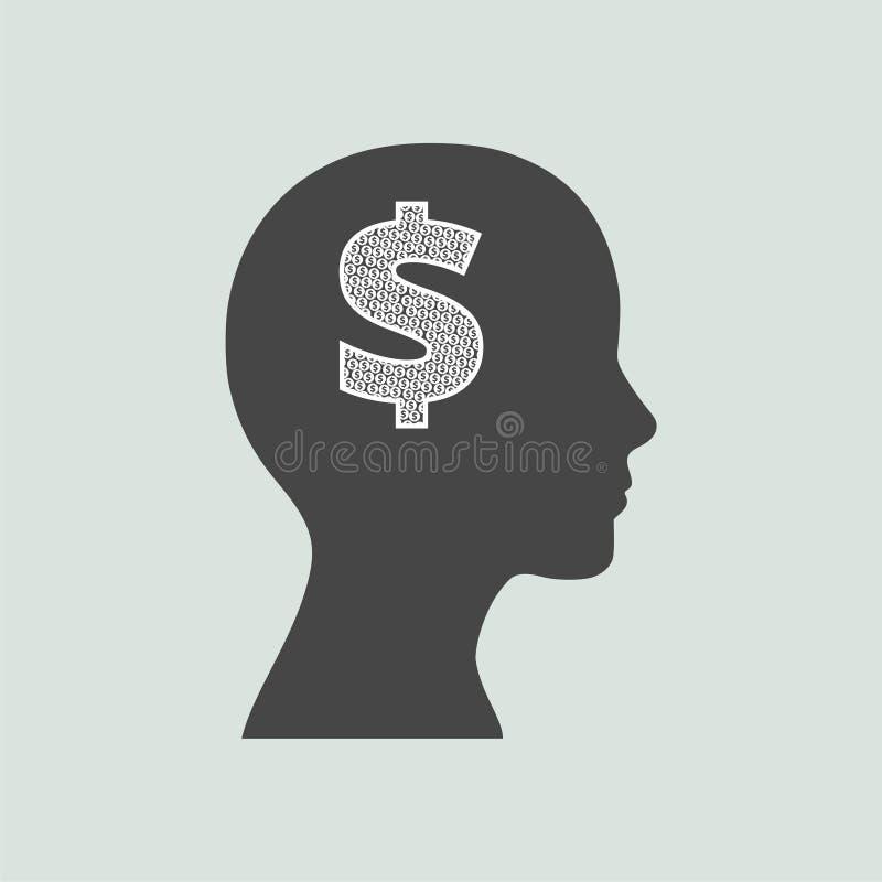 Gráfico del concepto de la mente para el dinero stock de ilustración
