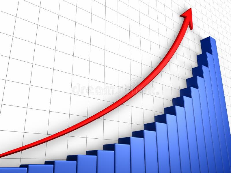 Gráfico del crecimiento con red stock de ilustración