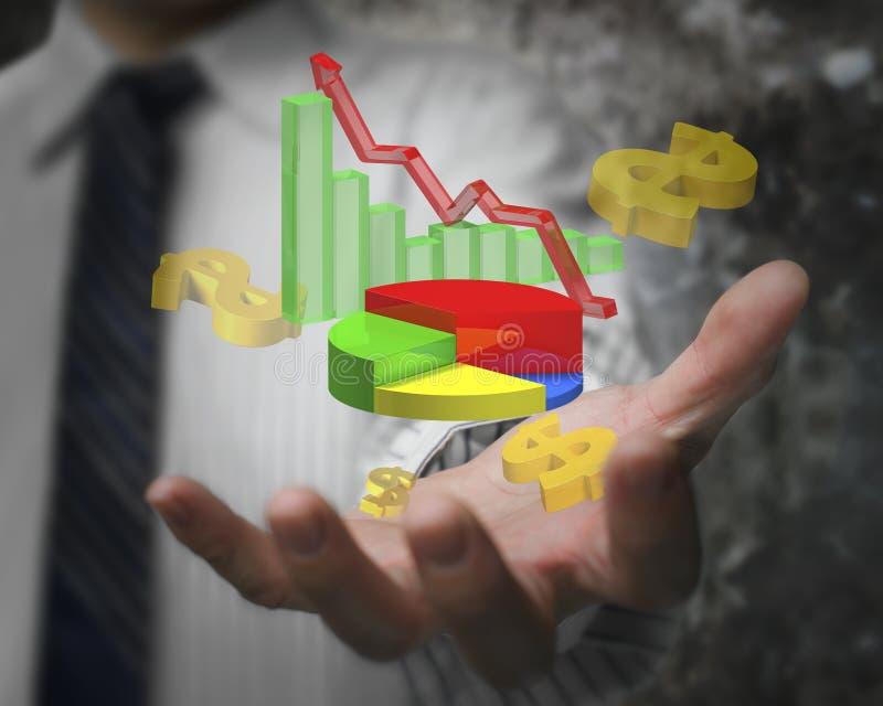 Gráfico del crecimiento del negocio de demostración de la mano del hombre de negocios con las muestras de dólar imagen de archivo
