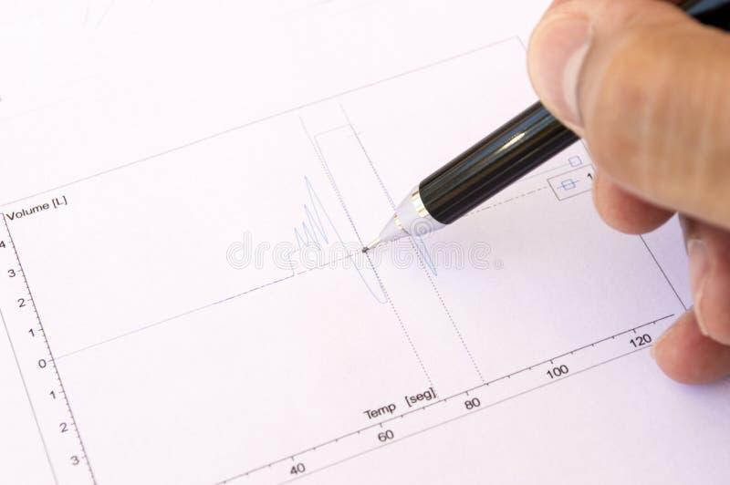 Gráfico del doctor que analiza el electrocardiograma fotos de archivo