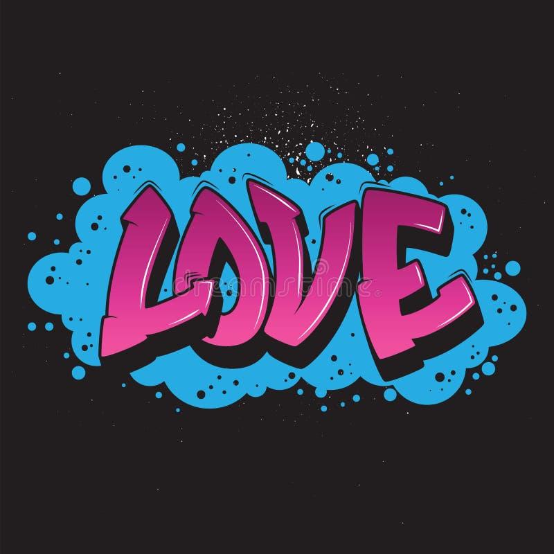 Gráfico del estilo de la pintada del amor ilustración del vector