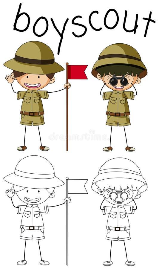 Gráfico del garabato del boyscout ilustración del vector