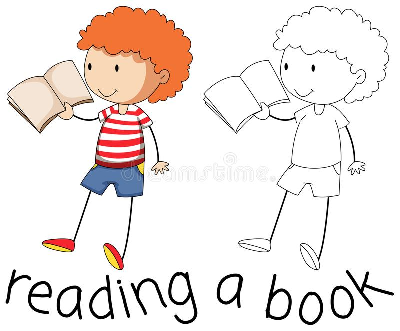 Gráfico del garabato de la lectura del muchacho stock de ilustración