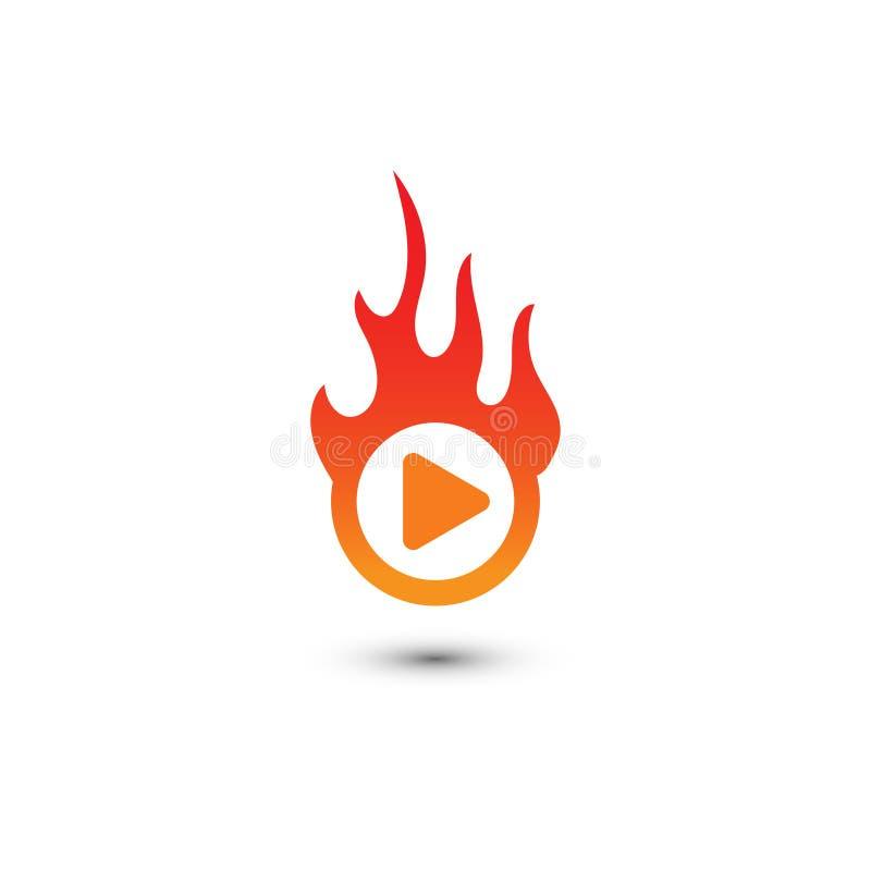 Gráfico del logotipo de las multimedias del botón de reproducción ilustración del vector
