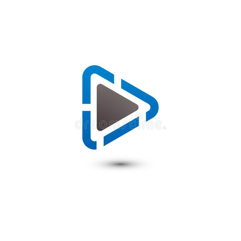 Gráfico del logotipo de las multimedias del botón de reproducción stock de ilustración
