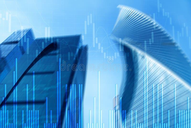 Gráfico del mercado de acción y carta de la palmatoria de la barra en fondo futurista de la ciudad fotos de archivo