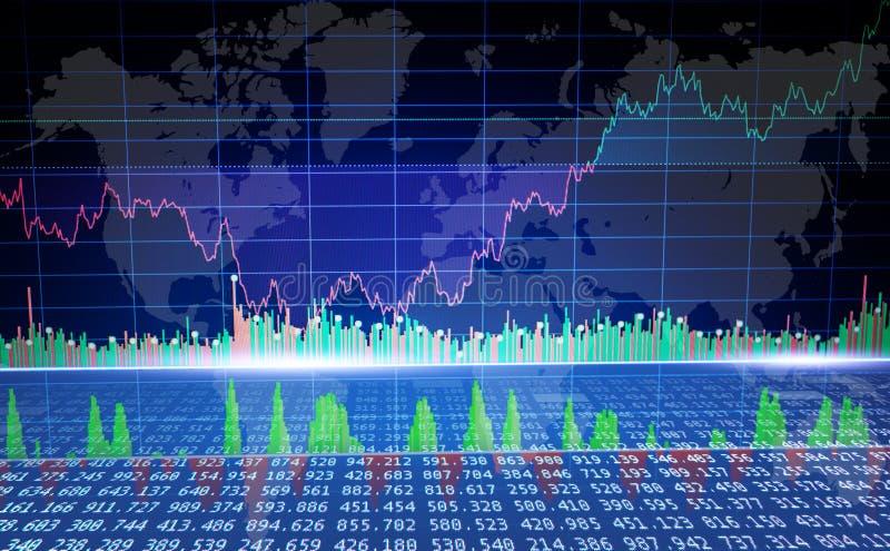 Gráfico del mercado global, concepto de los datos de negocio de las finanzas Comercio de Cryptocurrency ilustración del vector