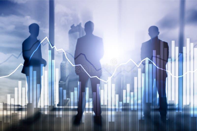 Gráfico del negocio y de las finanzas en fondo borroso Concepto del comercio, de la inversión y de la economía fotografía de archivo