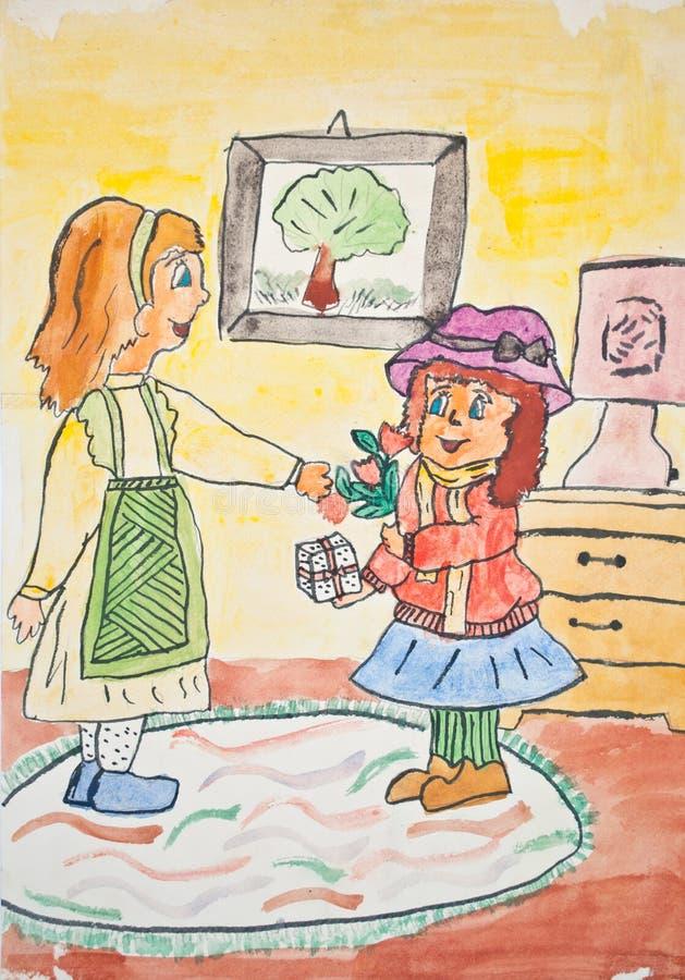 Gráfico del niño de la madre que da el regalo a la hija stock de ilustración