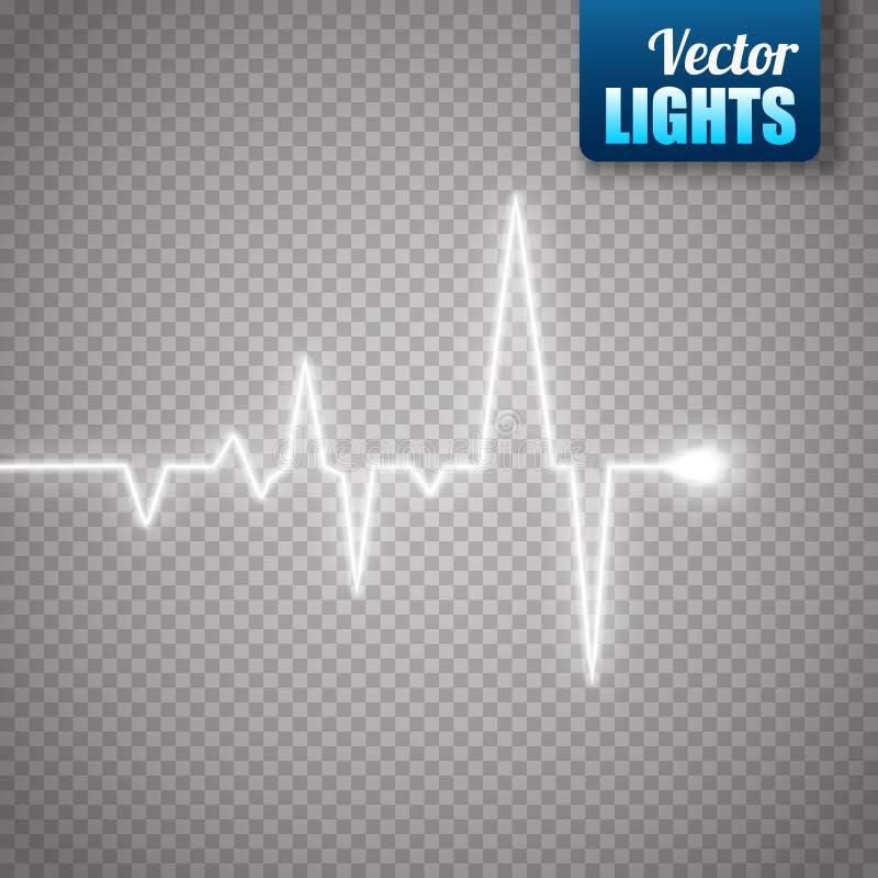 Gráfico del pulso del corazón aislado en fondo transparente Fondo médico stock de ilustración