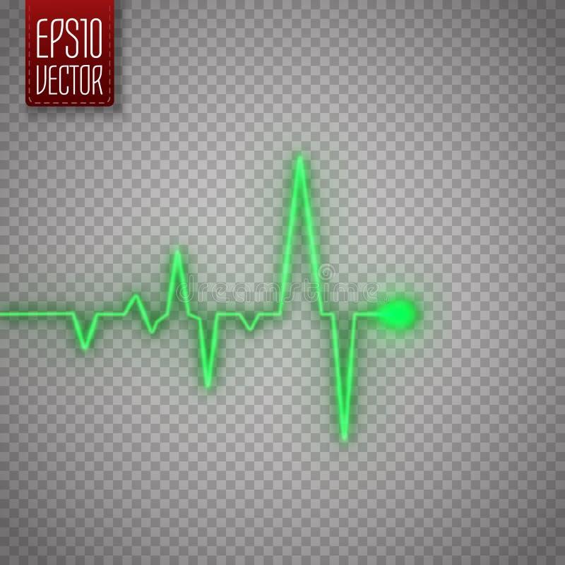 Gráfico del pulso del corazón aislado en fondo transparente Fondo médico ilustración del vector