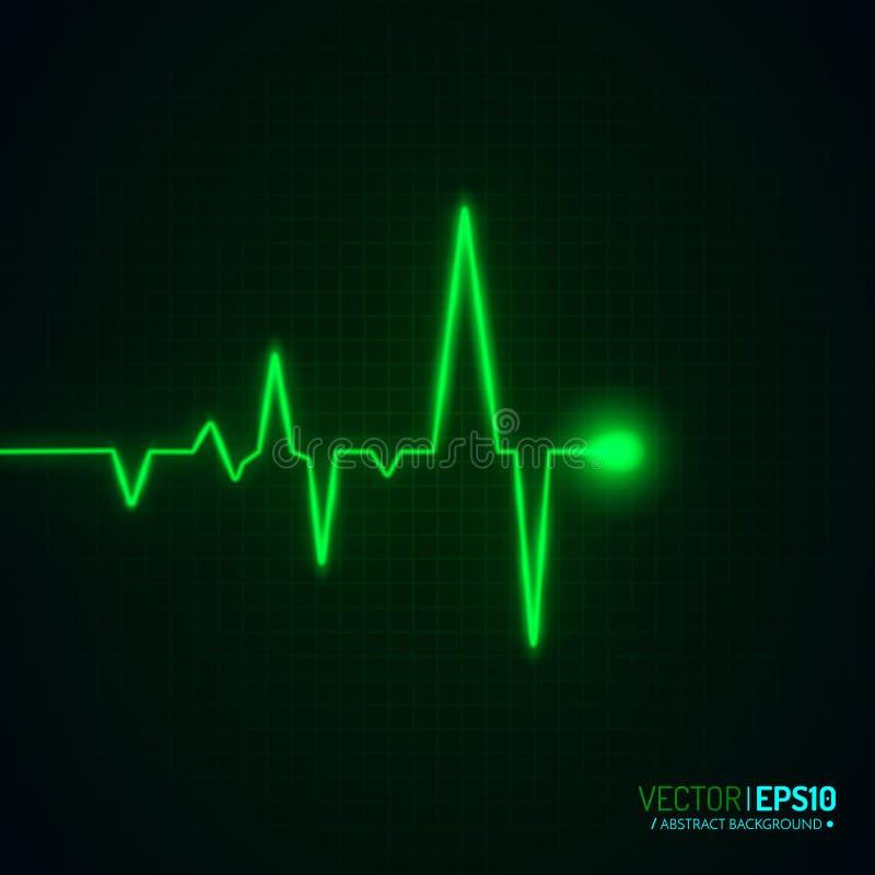 Gráfico del pulso del corazón aislado en negro Fondo del vector ilustración del vector