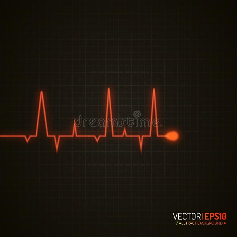 Gráfico del pulso Fondo médico con el cardiograma del corazón Fondo del vector stock de ilustración