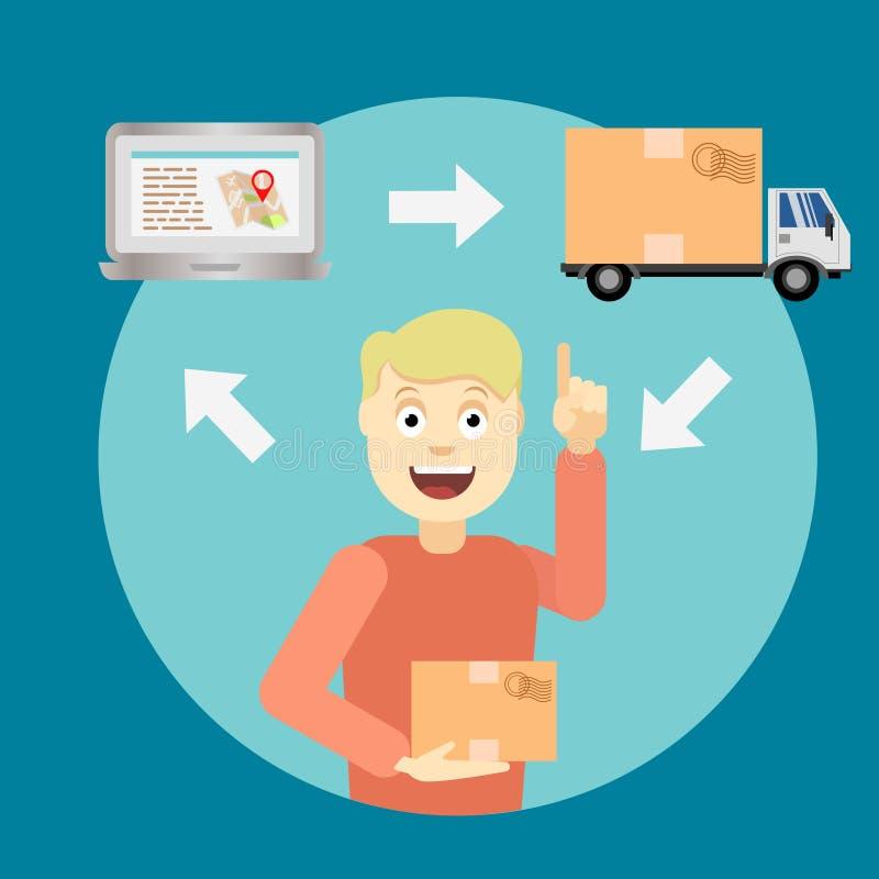 Gráfico del servicio de atención al cliente con el camión y el ordenador portátil ilustración del vector